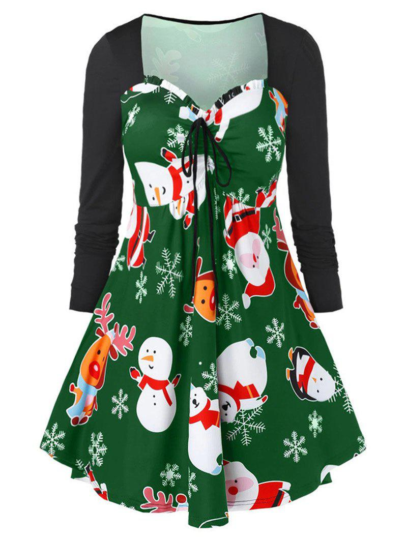 Christmas Elk Snowflake Ruffle Sweetheart Dress - MEDIUM SPRING GREEN M