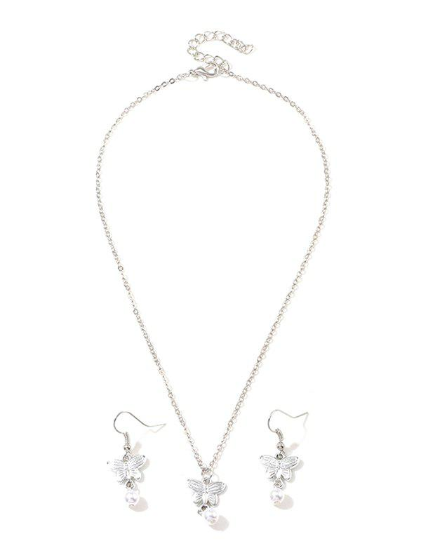 Artificial Pearl Butterfly Pendant Necklace and Hook Earrings - SILVER