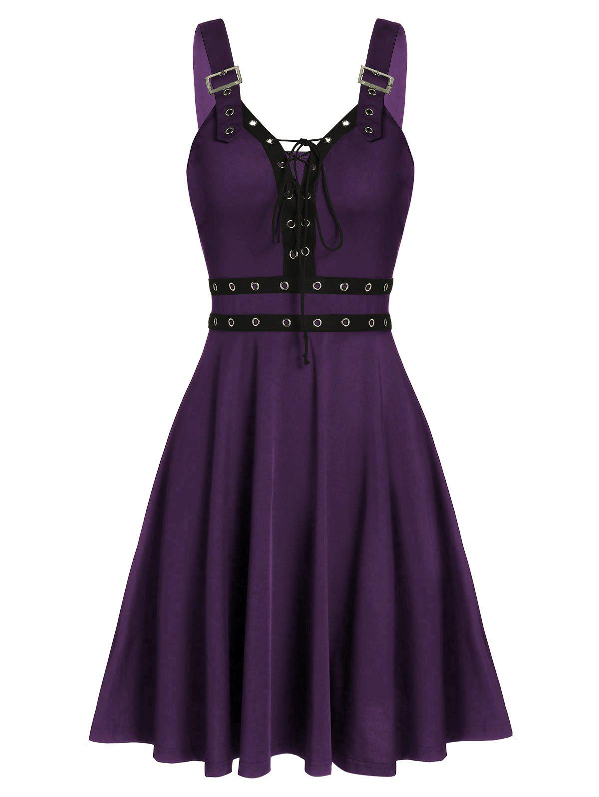 Lace Up Solid Fit And Flare Gothic Dress - PURPLE IRIS L