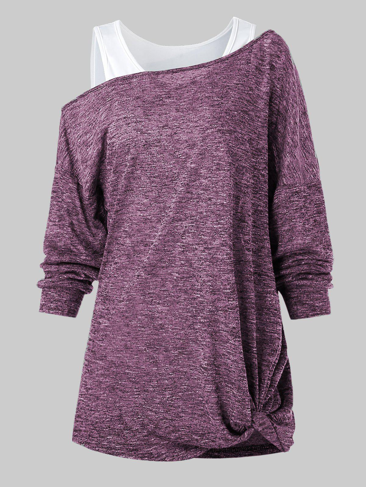 Space Dye Twist T Shirt with Solid Tank Top - MAROON 3XL