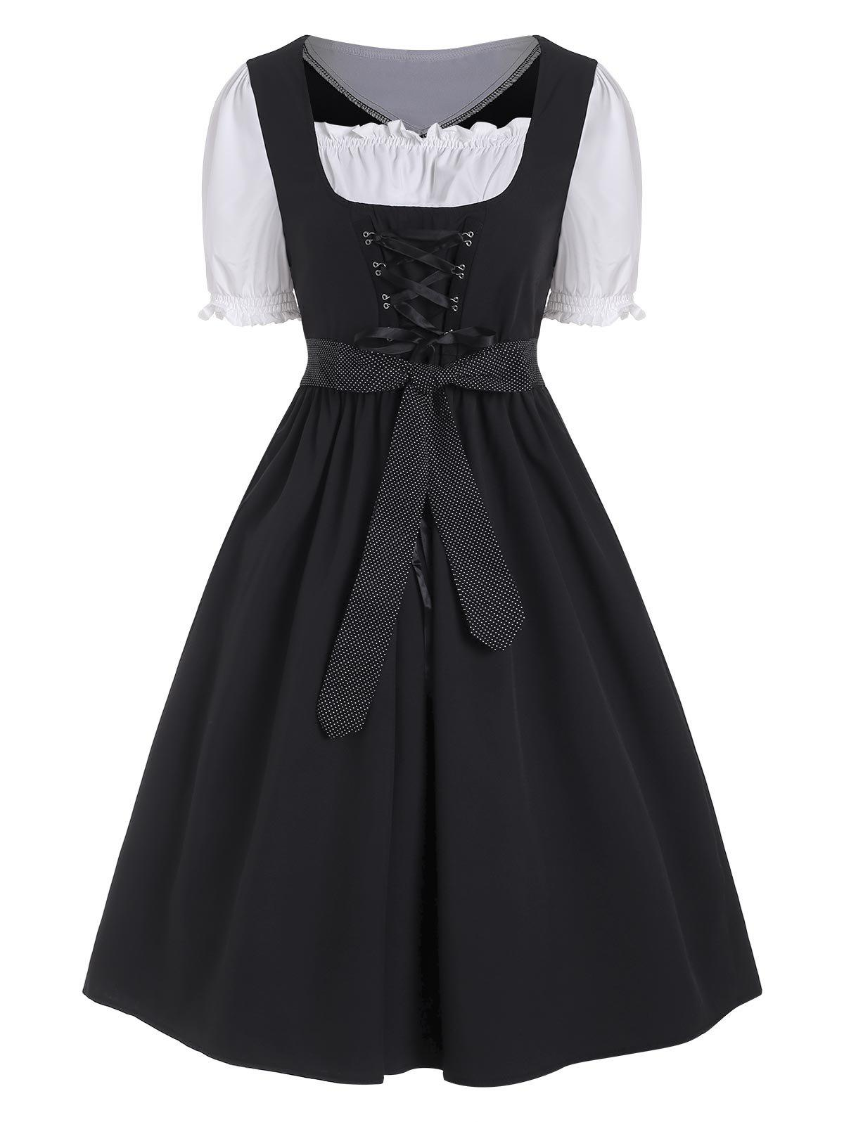 Colorblock Ruffle Lace Up Belted Dirndl Dress - BLACK 2XL