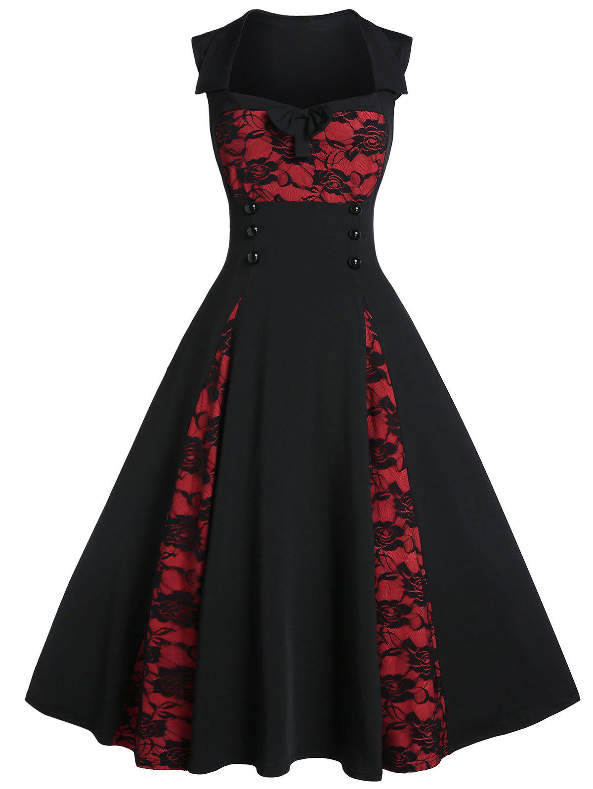 Fit And Flare Bowknot Button Embellished Dress - BLACK XL
