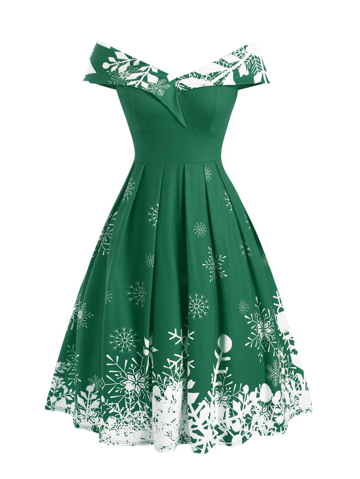 Christmas Snowflake Off Shoulder Foldover Dress - MEDIUM FOREST GREEN L