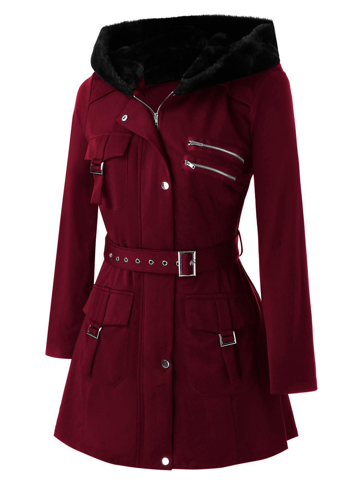 Plus Size Pockets Buckles Zippered Coat - RED WINE L