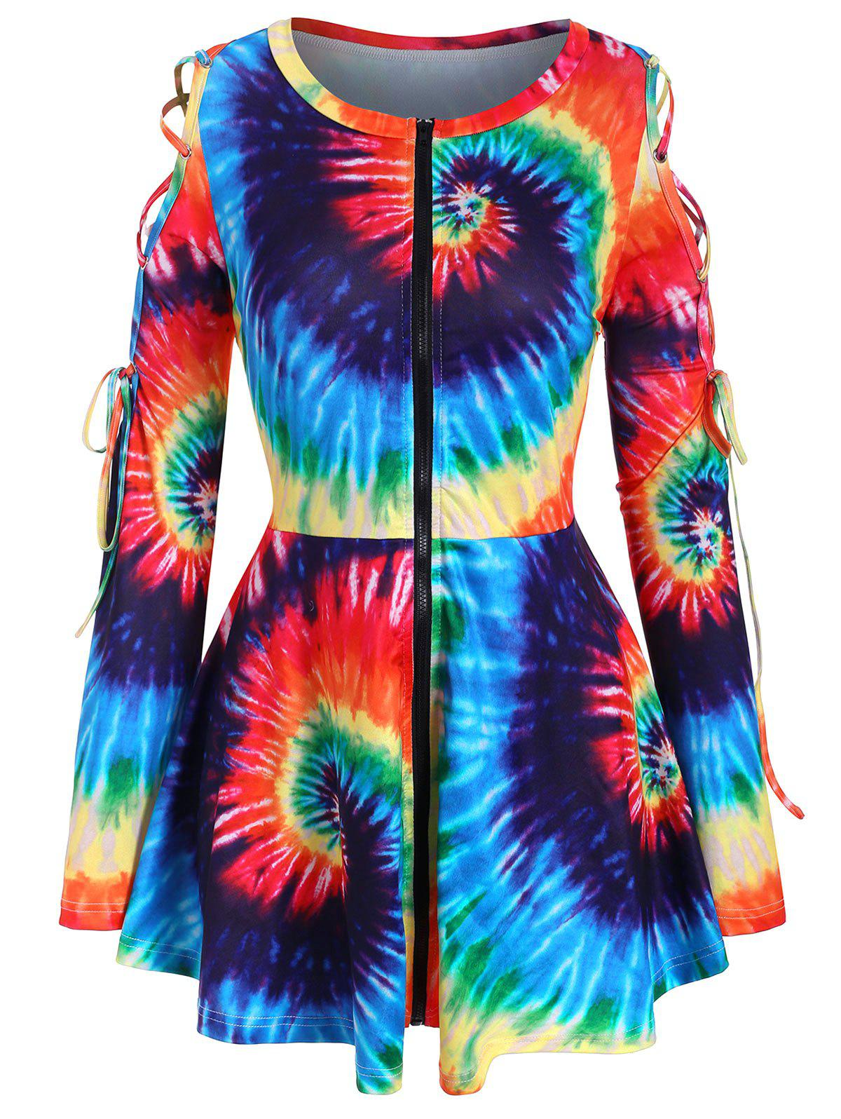 Rainbow Tie Dye Lace Up Zip Front Plus Size Top - multicolor 4X