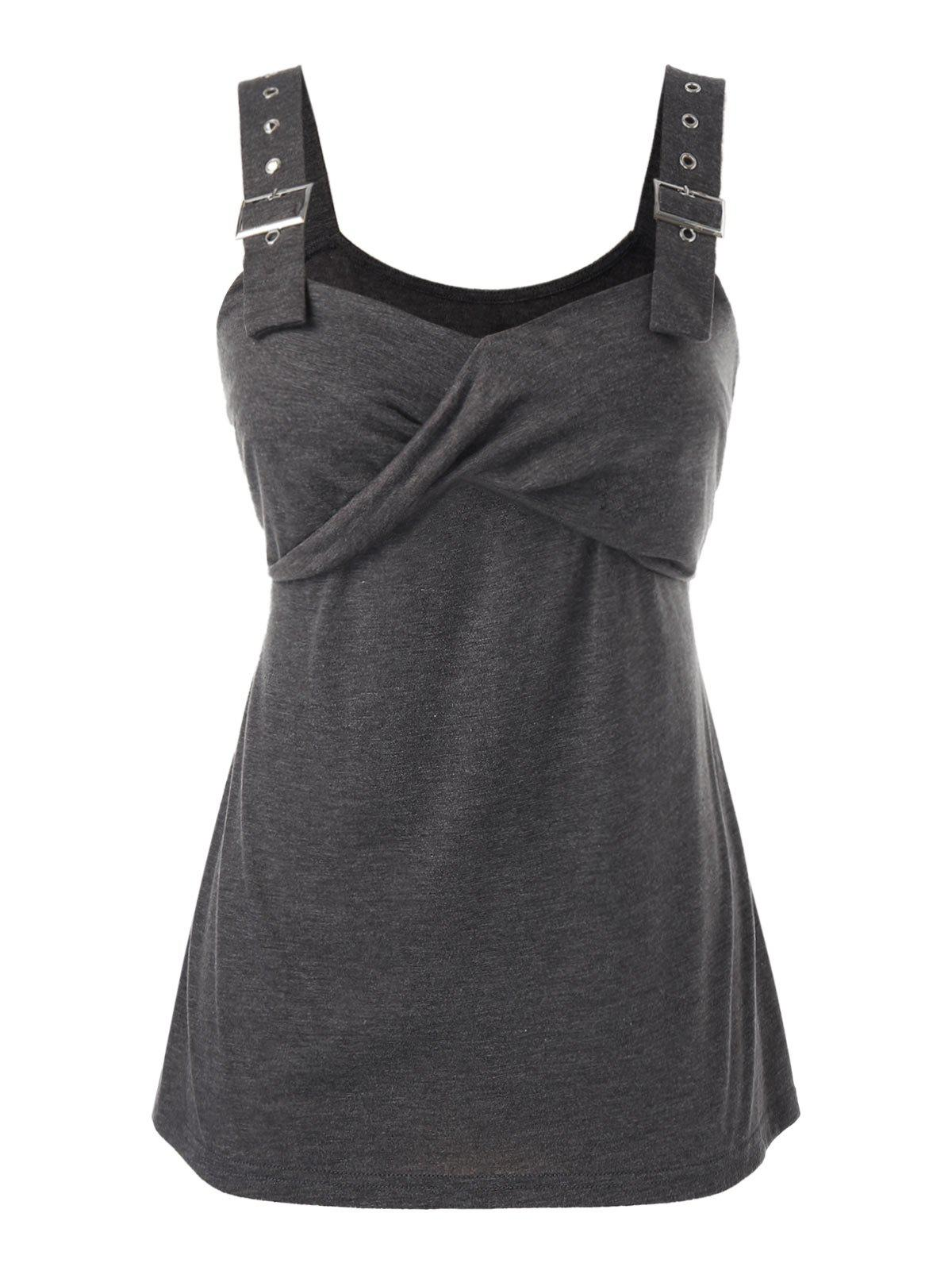 Taille Plus Oeillet Boucle Marled Tank Top - Gris 3X
