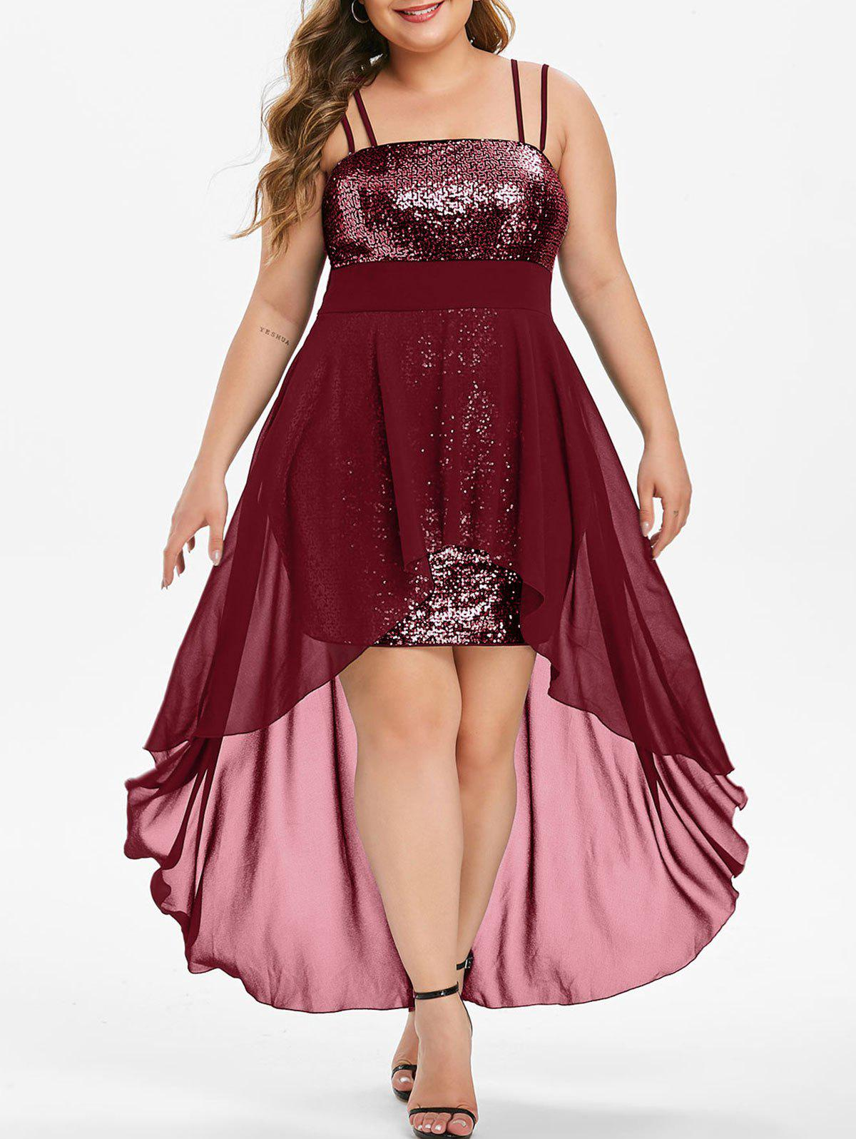 Plus Size Sequins High Low Party Dress - RED WINE 1X