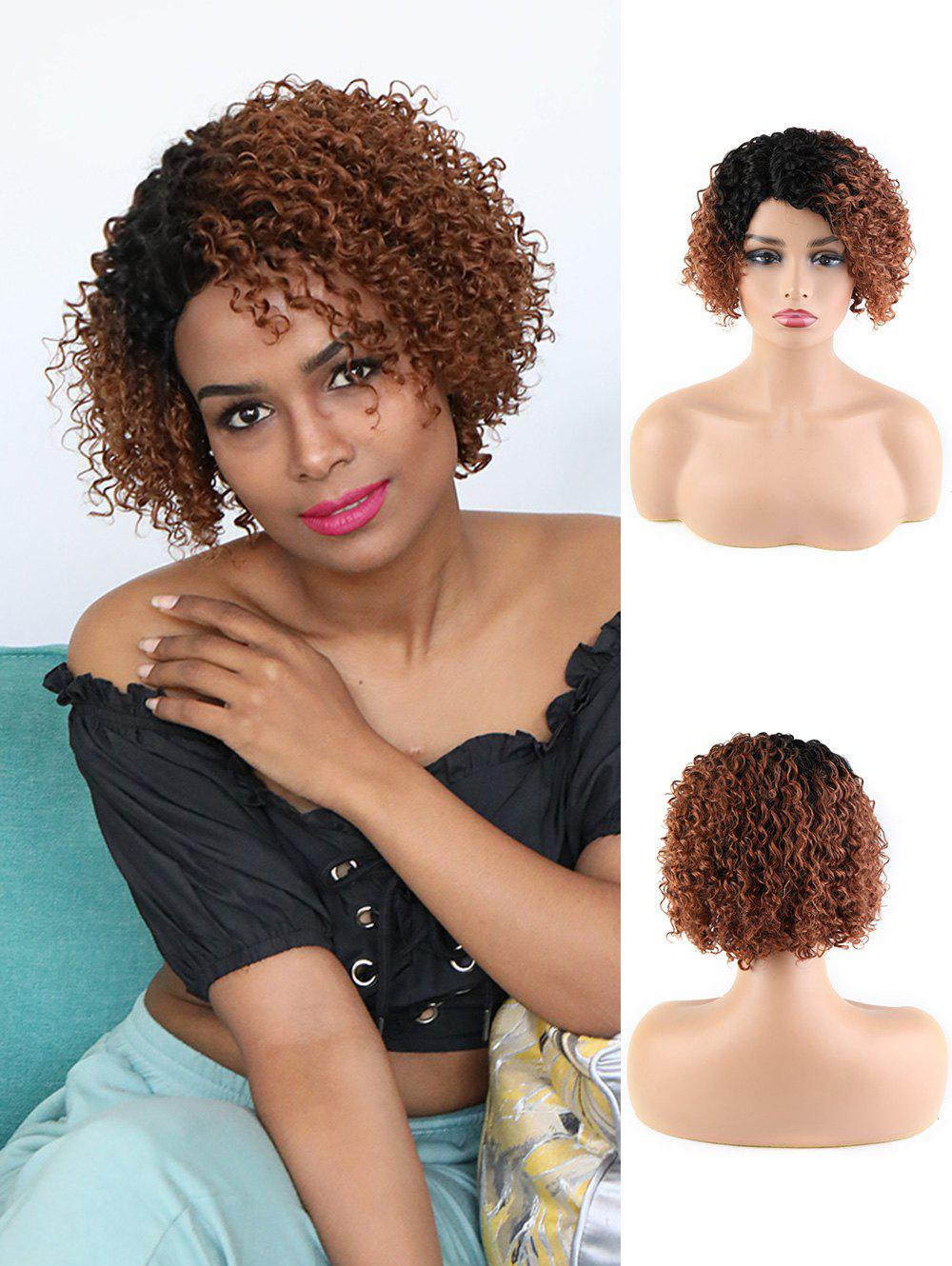 Human Hair Ombre Short Curly Side Part Wig - BROWN 8INCH