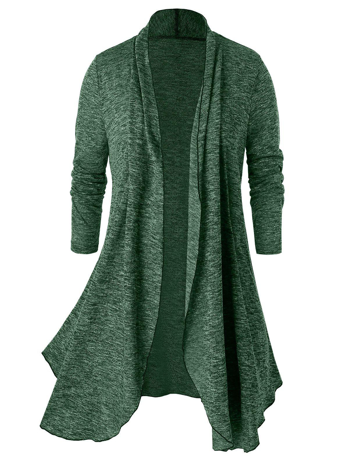 Plus Size Open Front Space Dye Tunic Cardigan - SEA GREEN 1X