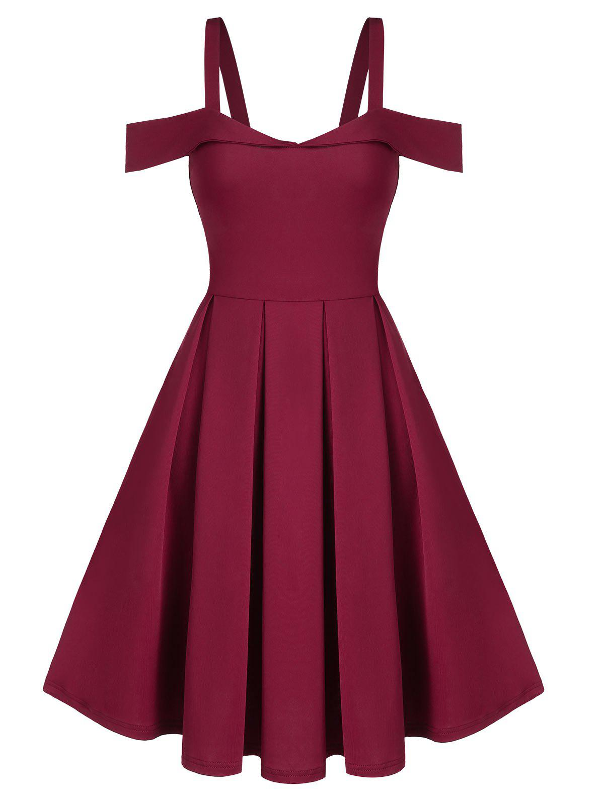 Cold Shoulder Pleated Prom Dress - RED WINE XL