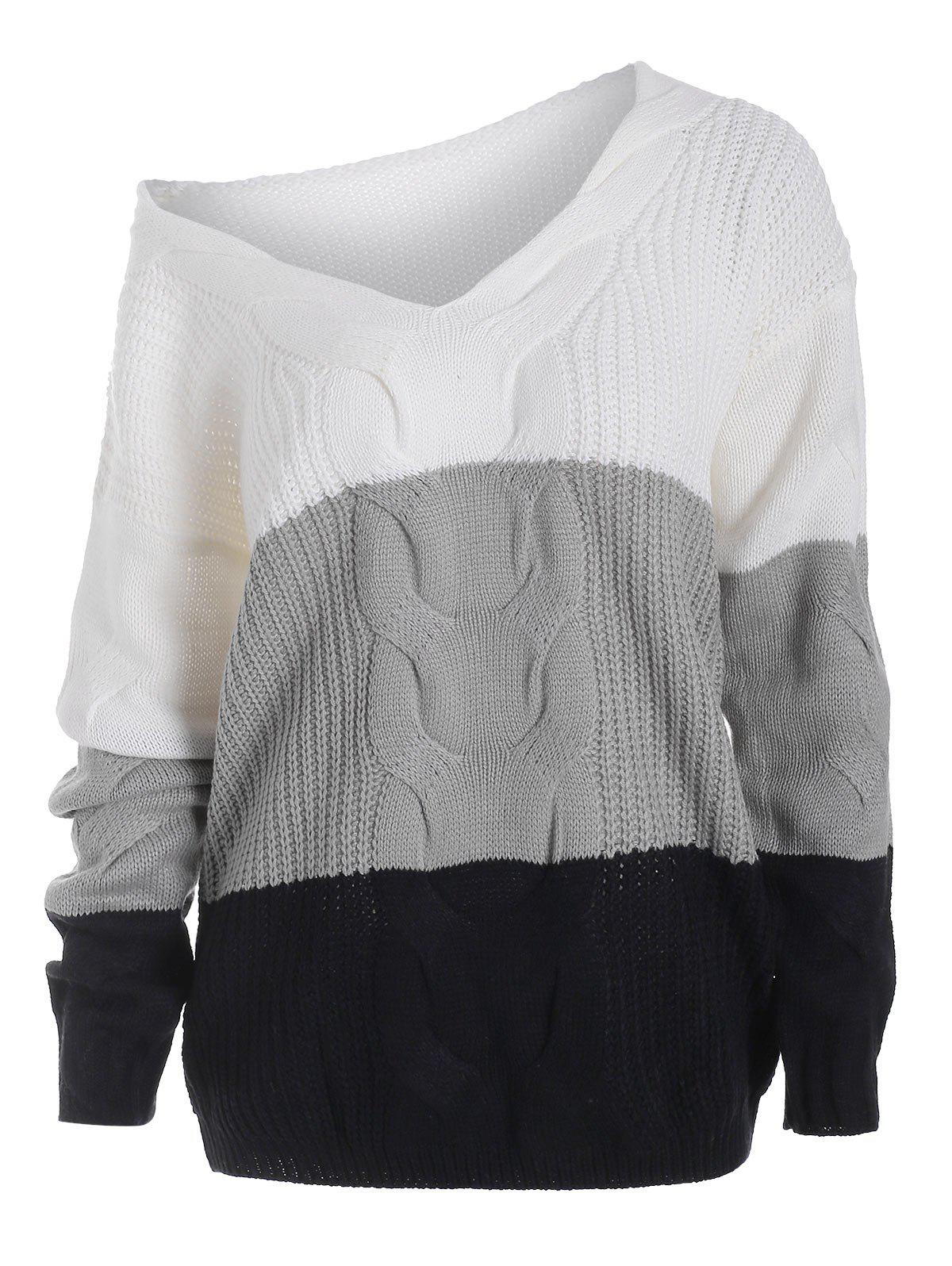 Colorblock Cable Knit Loose Sweater - WHITE XL