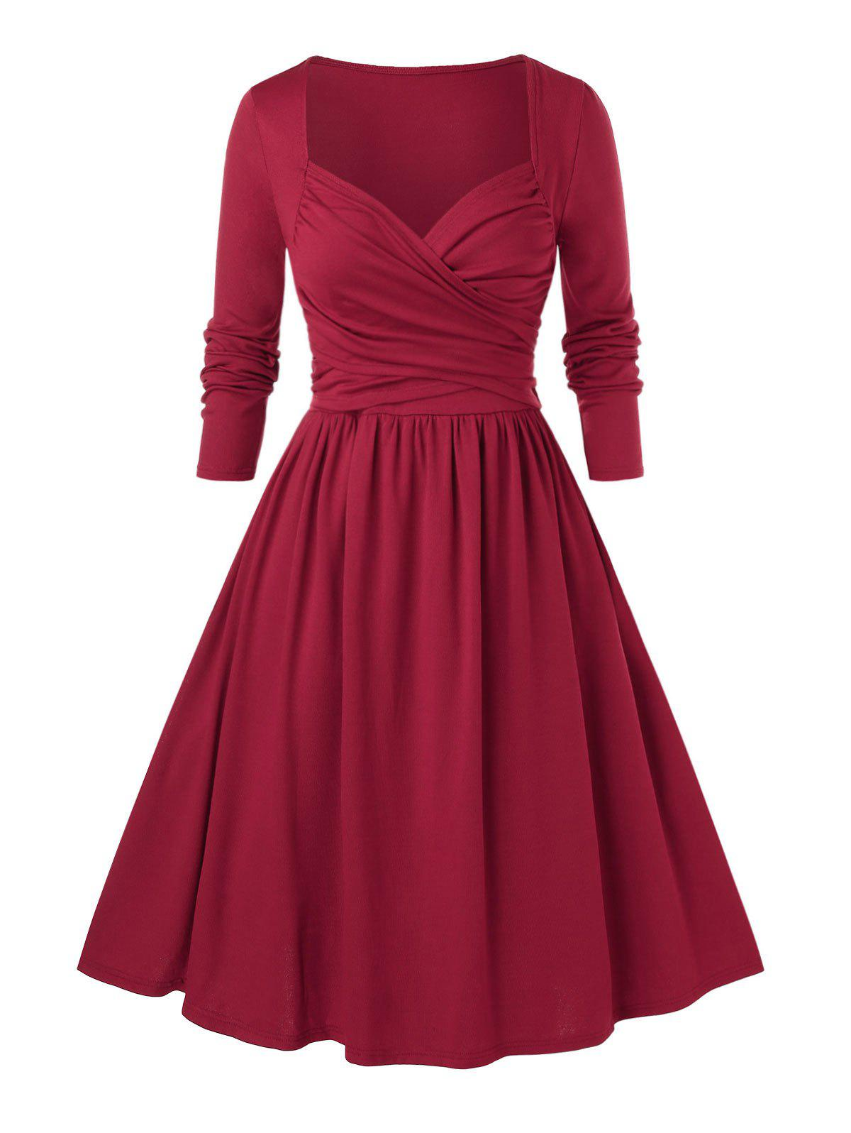 Plus Size Ruched Fit and Flare Dress - RED WINE L