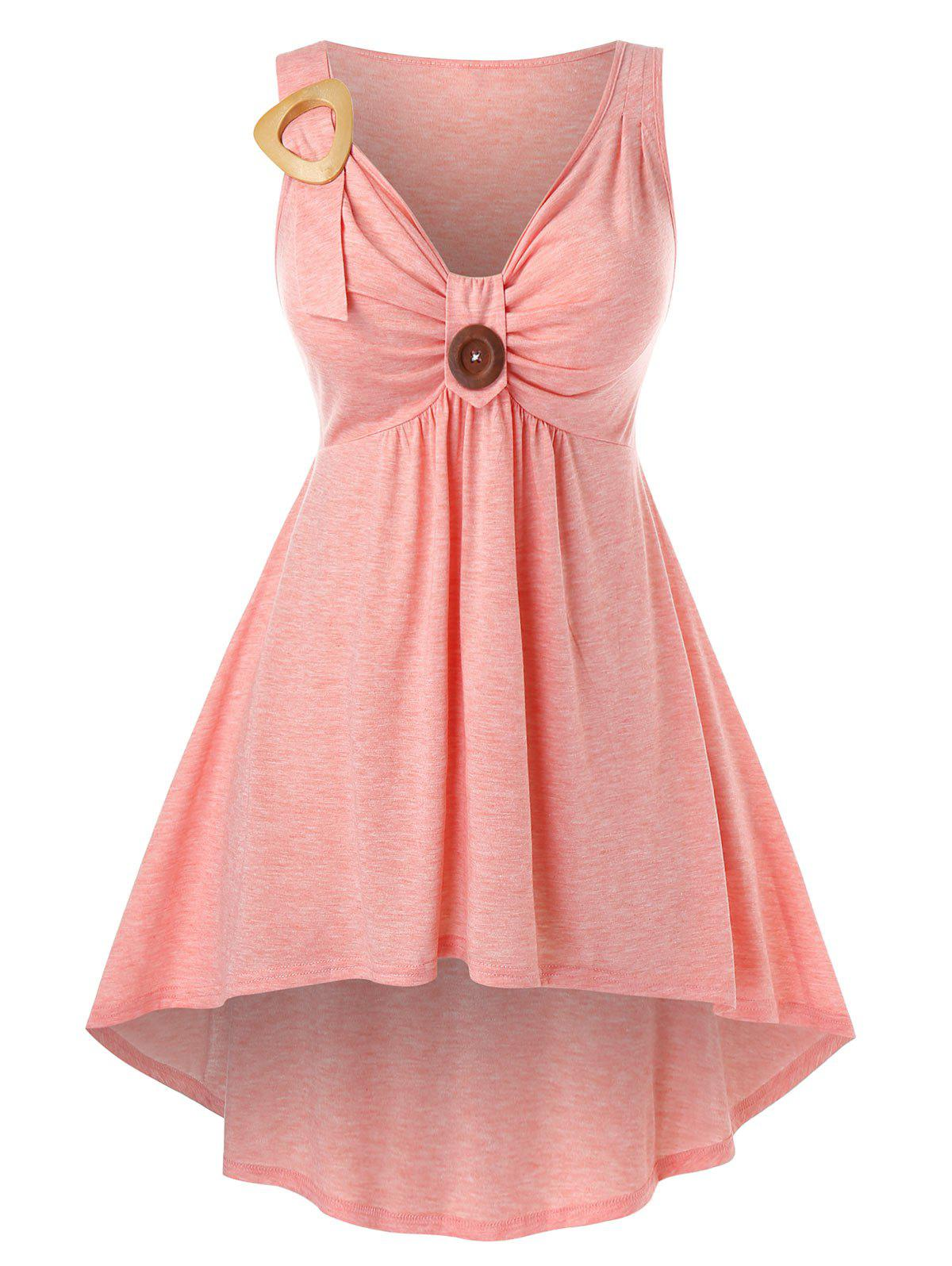 Plus Size Front Knot High Low Tank Top - LIGHT PINK 1X