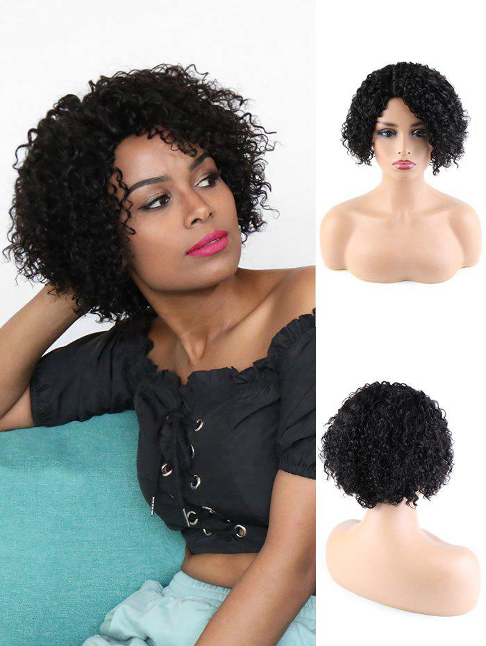 Human Hair Side Part Curly Short Wigs - NATURAL BLACK 8INCH