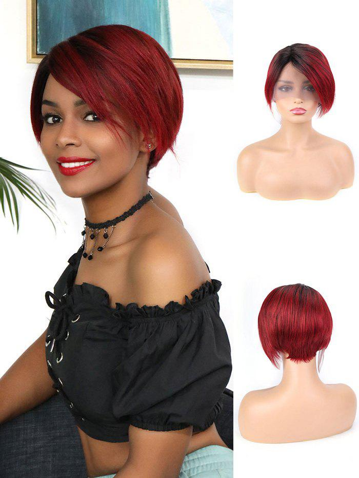 Human Hair Ombre Red Short Straight Wig - RED WINE 6INCH