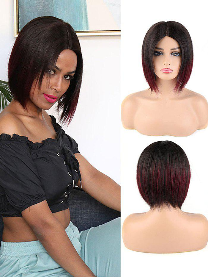 Center Part Human Hair Ombre Straight Short Bob Wig - RED WINE 8INCH