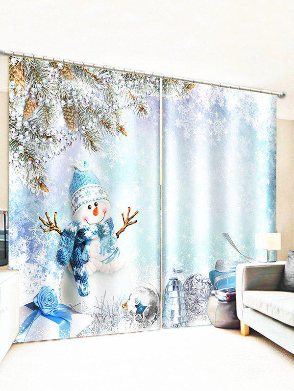 Christmas Snowman Snowflake Window Curtains - multicolor W33.5 X L79 INCH X 2PCS