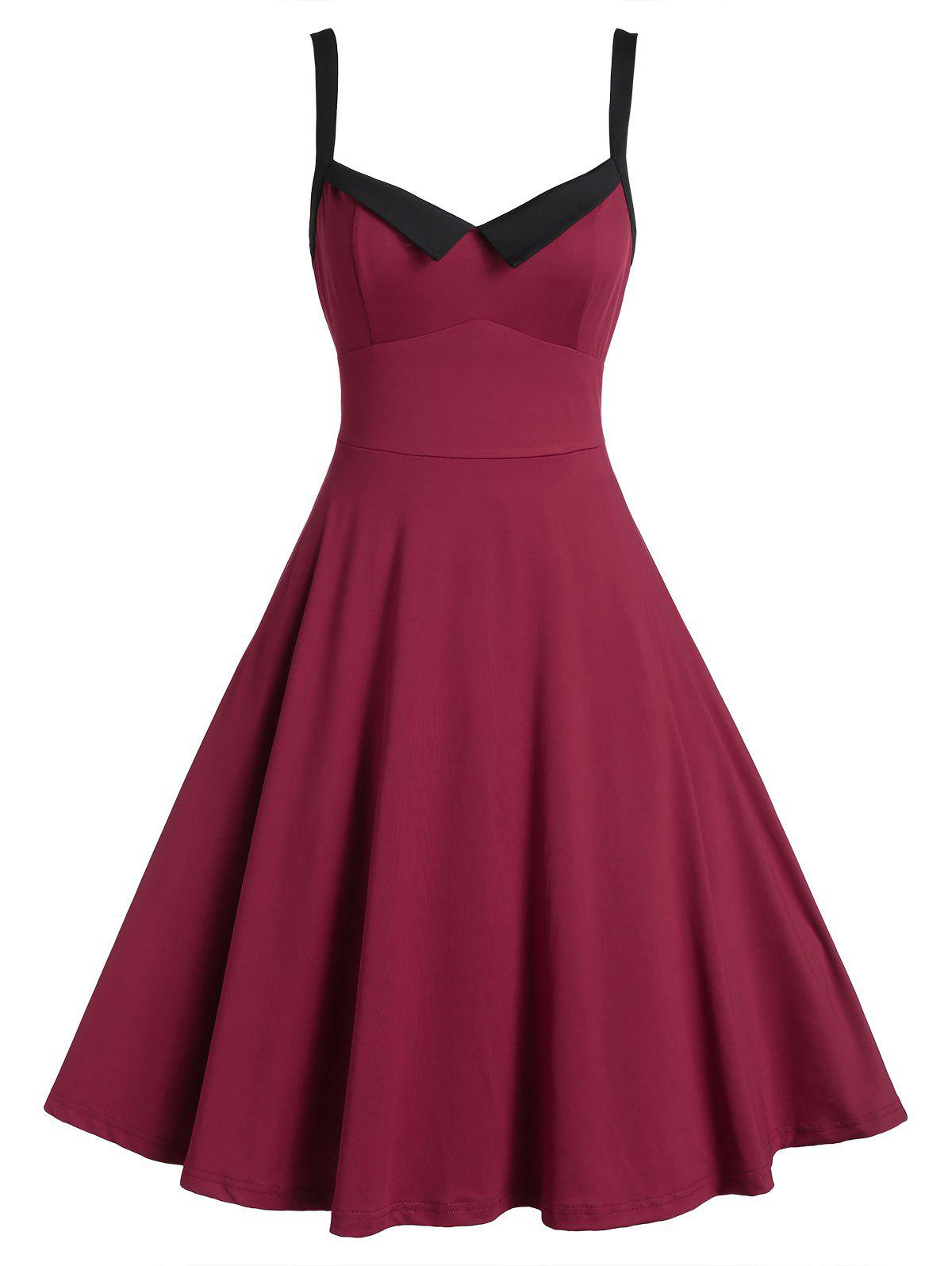 Sleeveless Vintage Flare Prom Dress - RED WINE 3XL