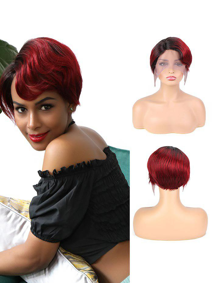 Human Hair Side Part Ombre Red Short Straight Wig - RED WINE 6INCH