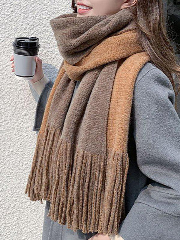 Two Tone Colorblock Tassel Long Scarf - CAMEL BROWN