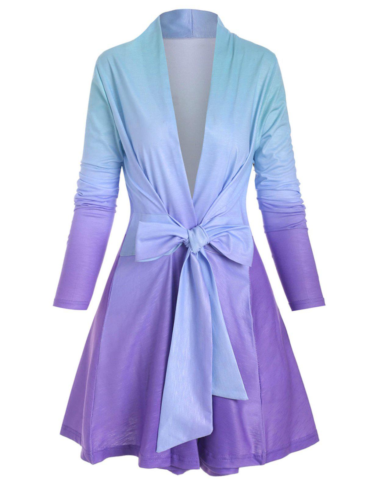 Plus Size Ombre Color Wrap Jacket - PURPLE 5X
