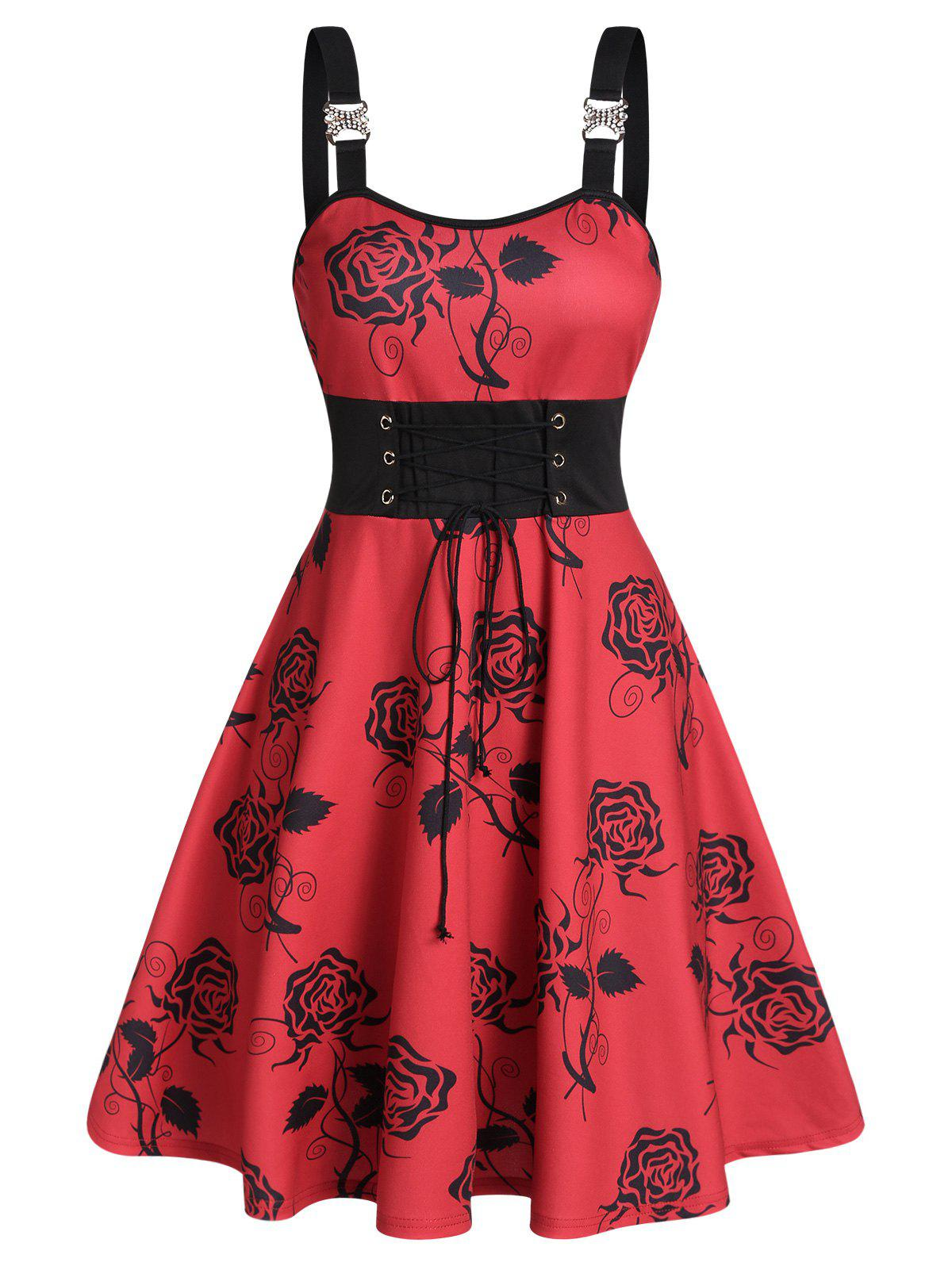 Floral Print Tie Waist Cami Mini Dress - RED WINE M