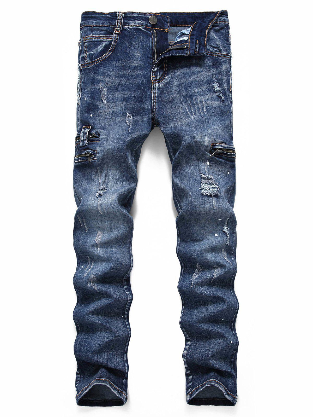 Ripped Zipper Scratch Painting Dots Jeans - DENIM DARK BLUE 38