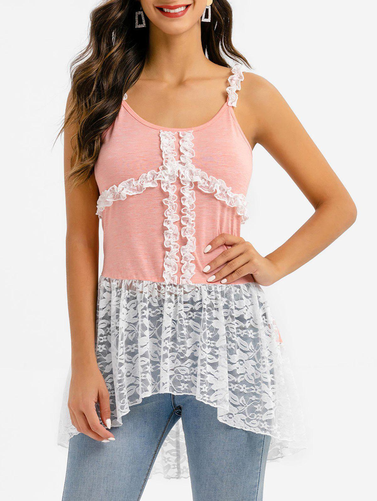 Frilled Lace Insert Dip Hem Tank Top - multicolor A 3XL