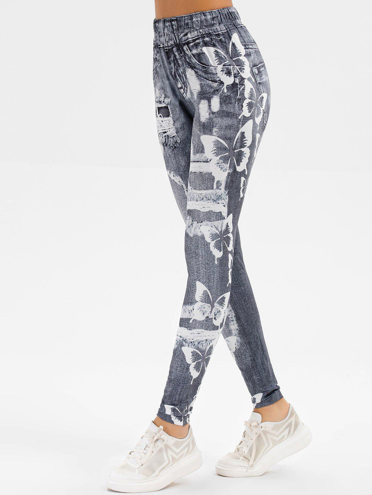 High Rise Butterfly Ripped Print Jeggings - GRAY CLOUD L