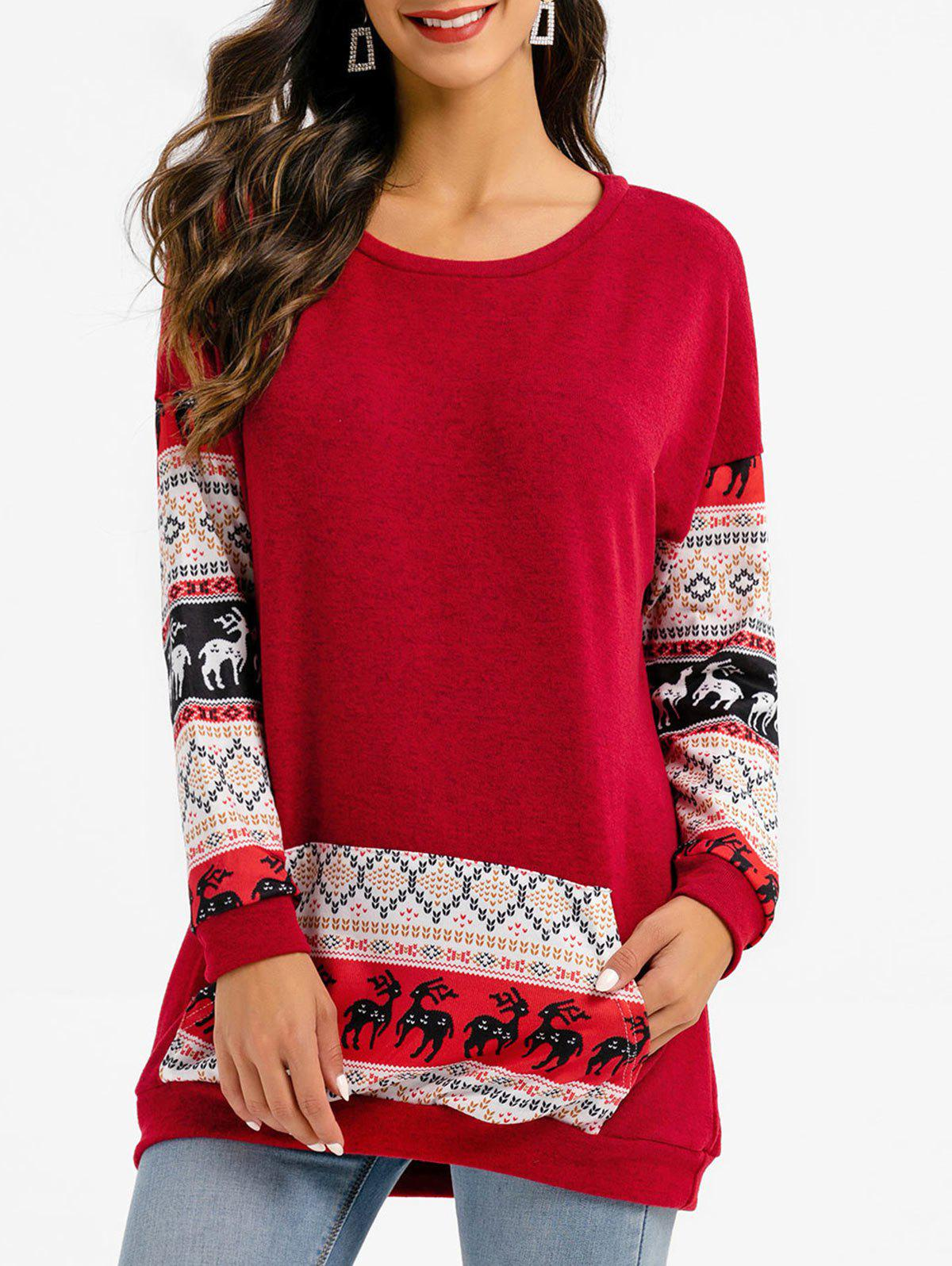 Christmas Elk Graphic Tunic Sweater - CHERRY RED XL
