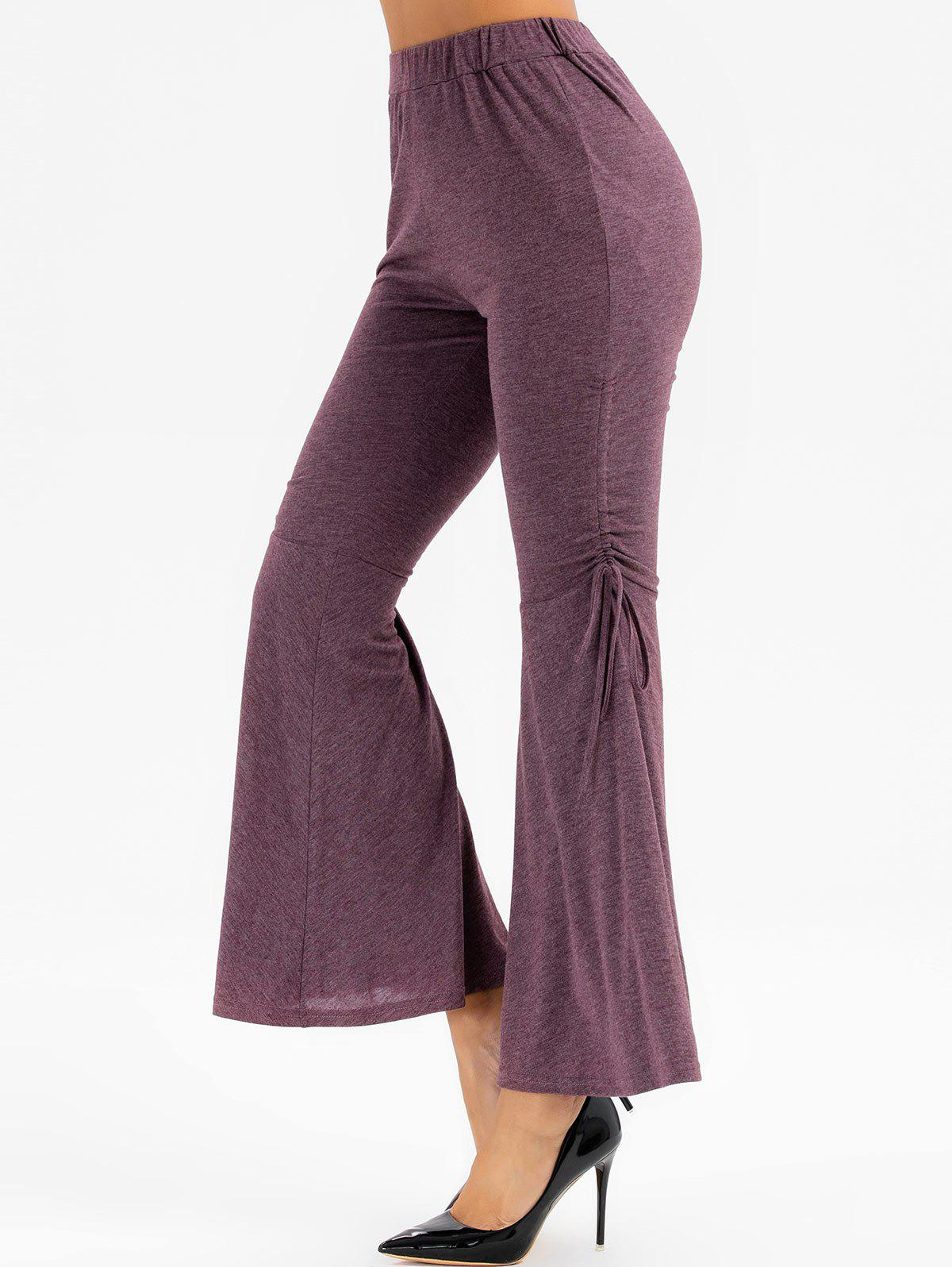 Heathered High Waisted Cinched Flare Pants - VELVET MAROON 2XL