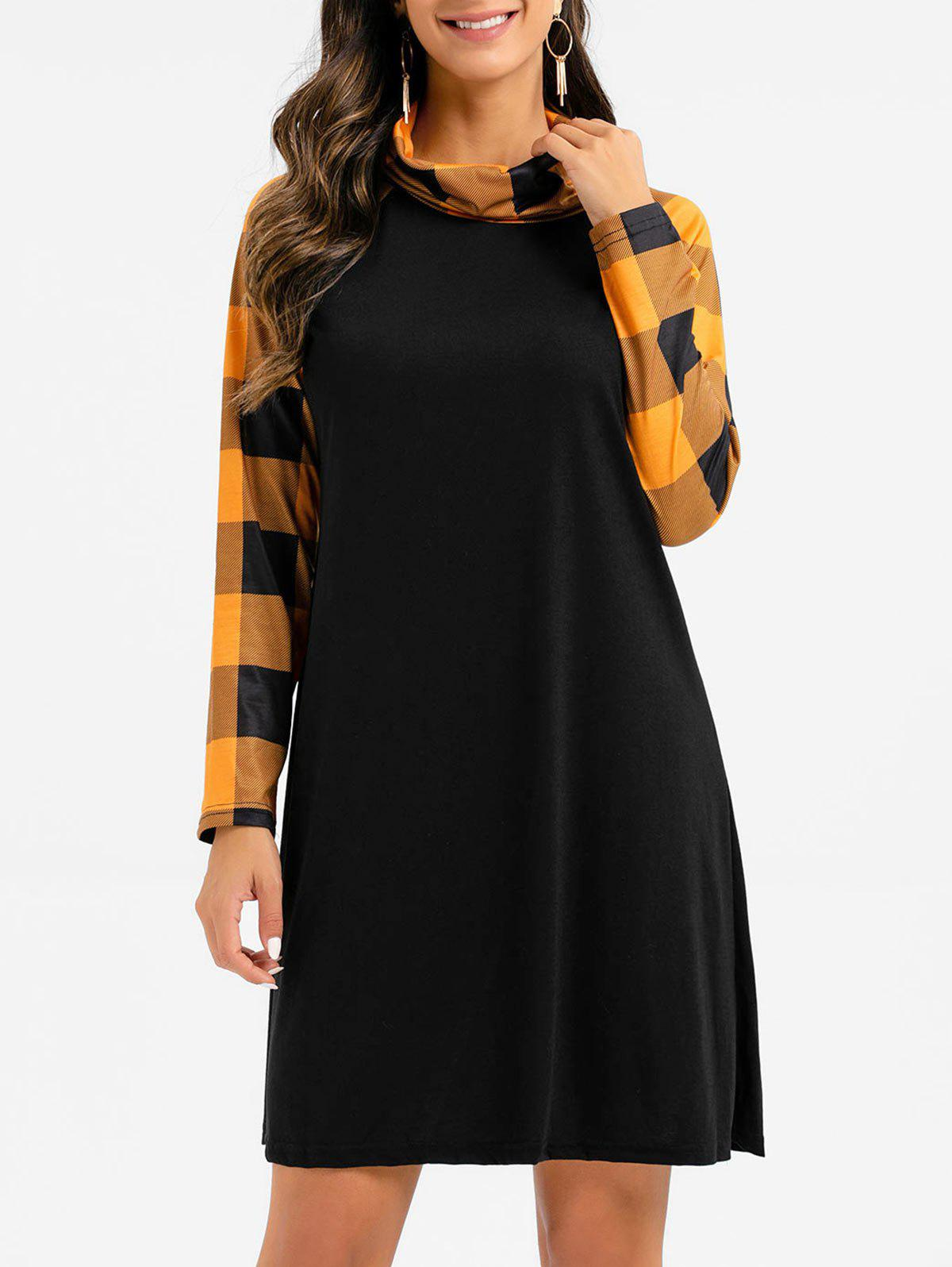 Plaid Turtleneck Raglan Sleeve Dress - GOLDEN BROWN S