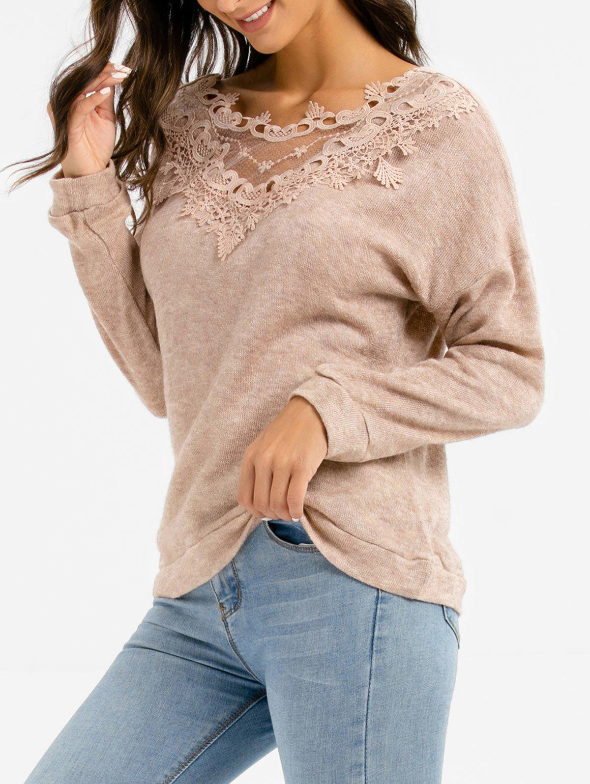 Back Lace Panel Sweater - TAN S