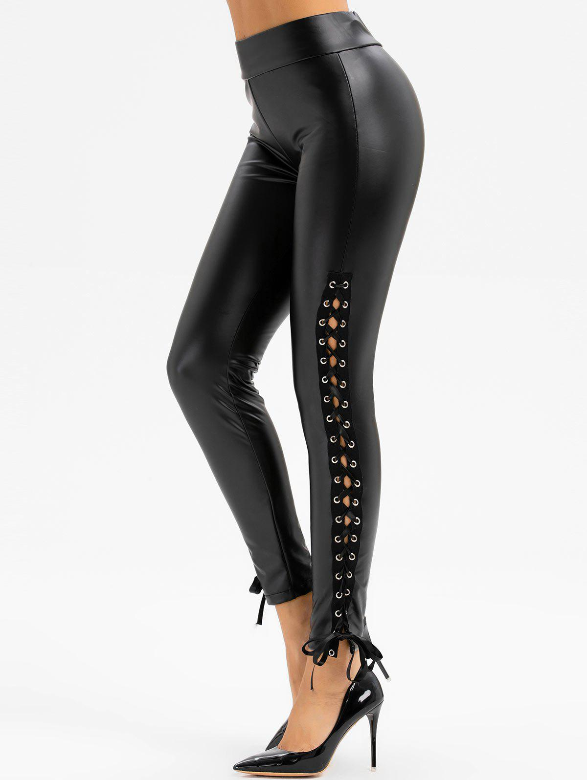 Lace Up Faux Leather Skinny Pants - BLACK M
