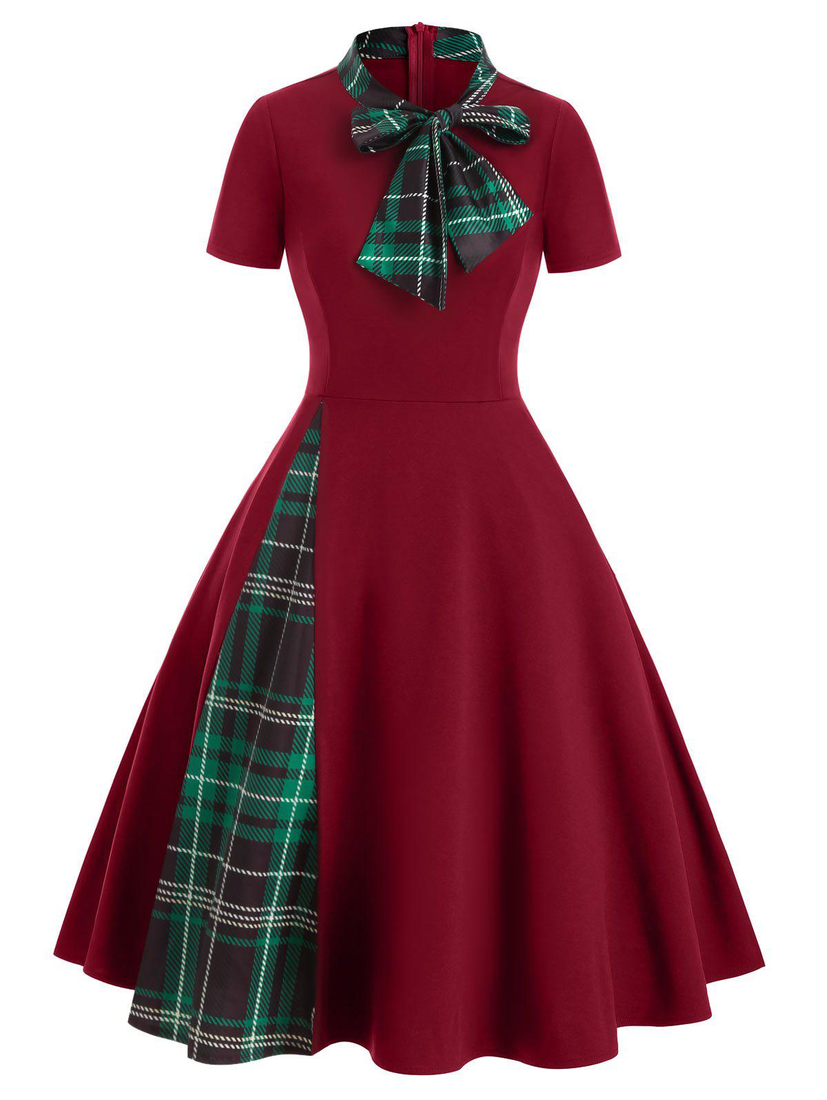 Plaid Panel Bow Tie Vintage Rockabilly Style A Line Dress - RED WINE S