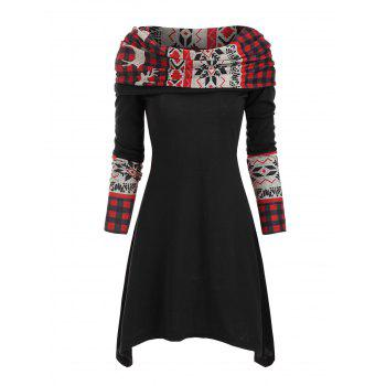 Christmas Elk Plaid Knitted Multiway Asymmetrical Dress