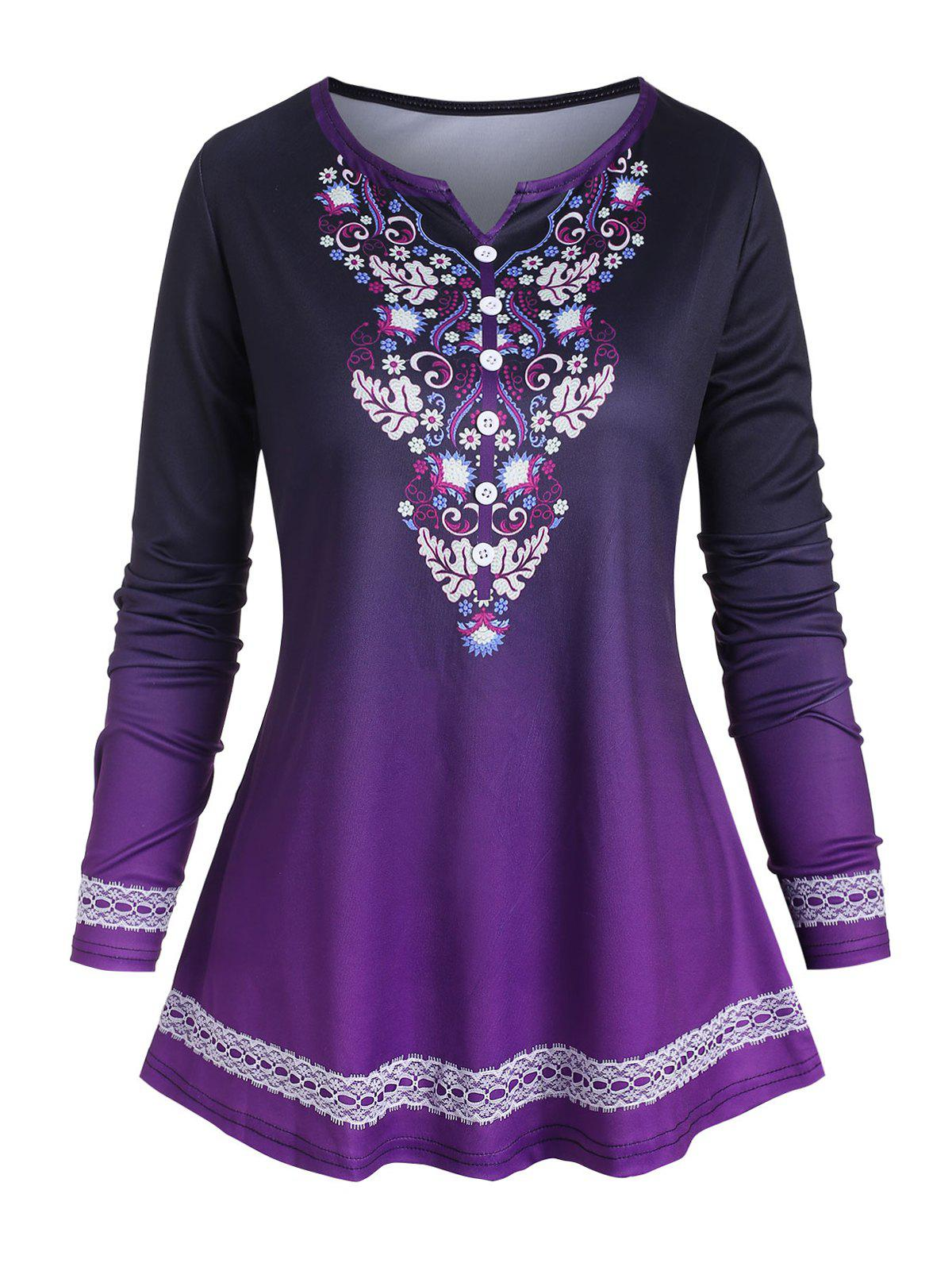 Plus Size Floral Print Lace Panel Notched T-shirt - PURPLE IRIS 4X