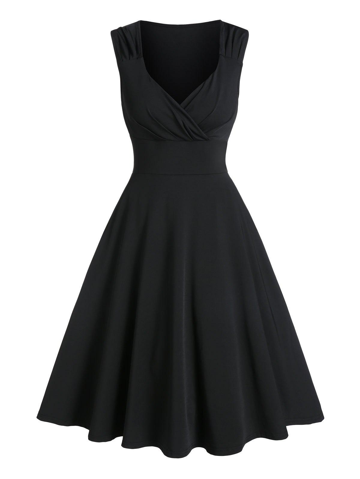 Plunge Neck Ruched Skater Prom Dress - BLACK 3XL