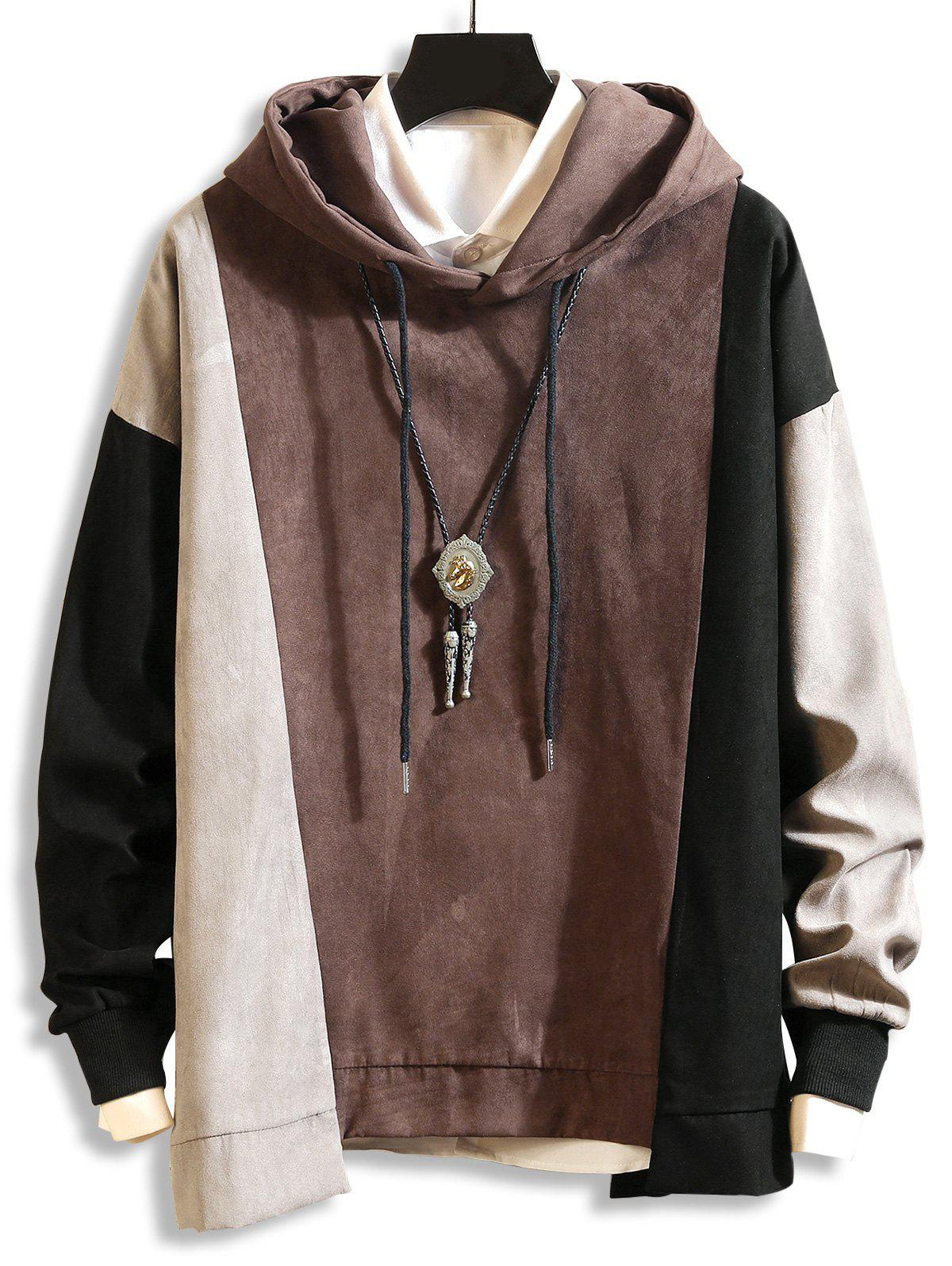 DressLily / Color-blocking Drop Shoulder Asymmetrical Hem Hoodie