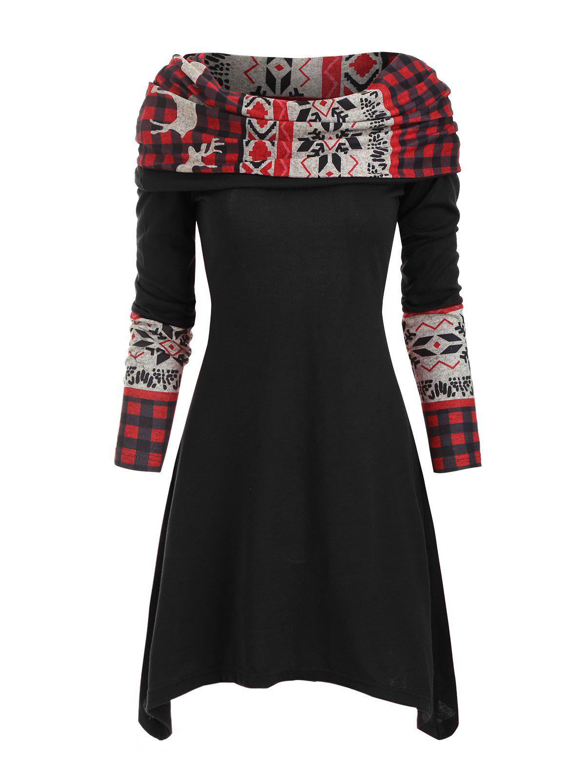 Christmas Elk Plaid Knitted Multiway Asymmetrical Dress - BLACK L
