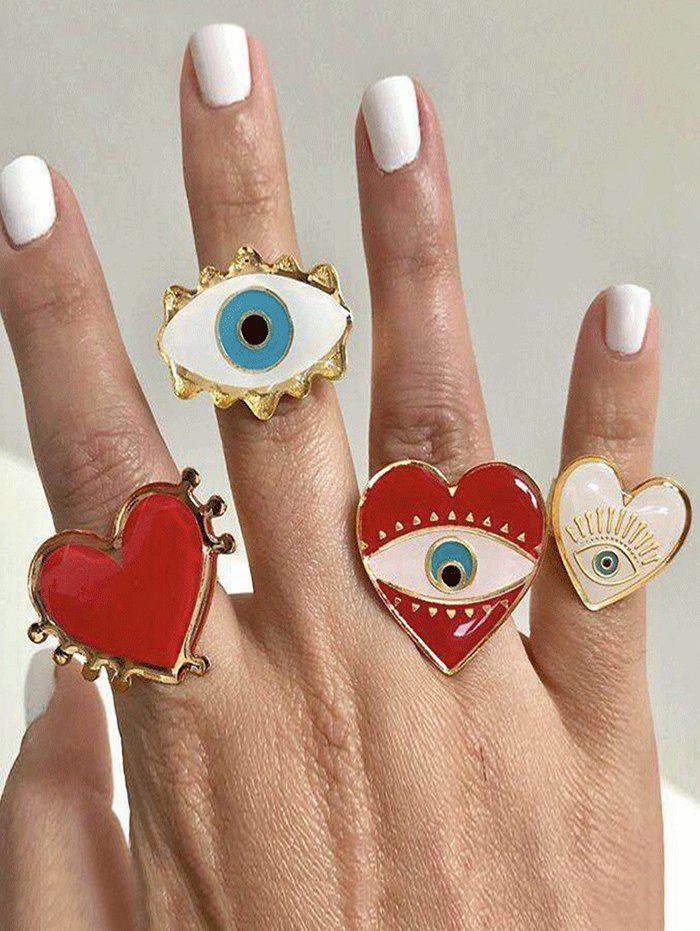 4Pcs Eye Heart Pattern Rings Set - GOLD