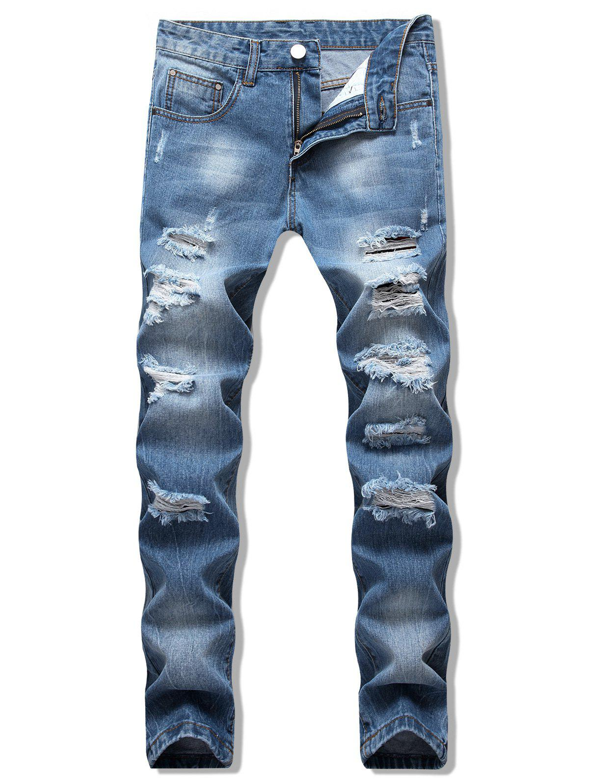Destroy Wash Scratch Long Casual Jeans - JEANS BLUE 38