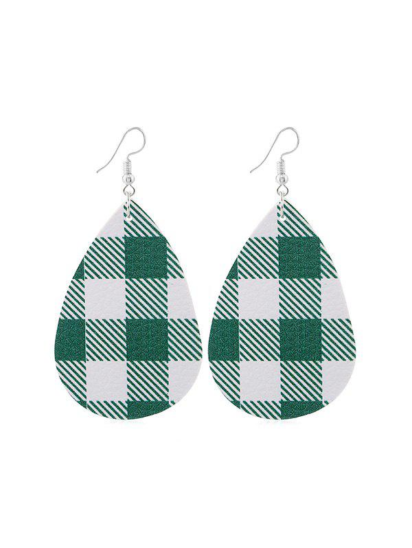 Plaid Print Leather Water Drop Earrings - GREEN