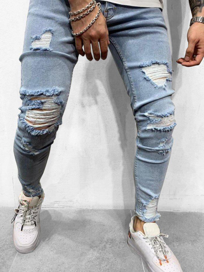 Destroyed Ripped Zipper Fly Casual Jeans - LIGHT BLUE L