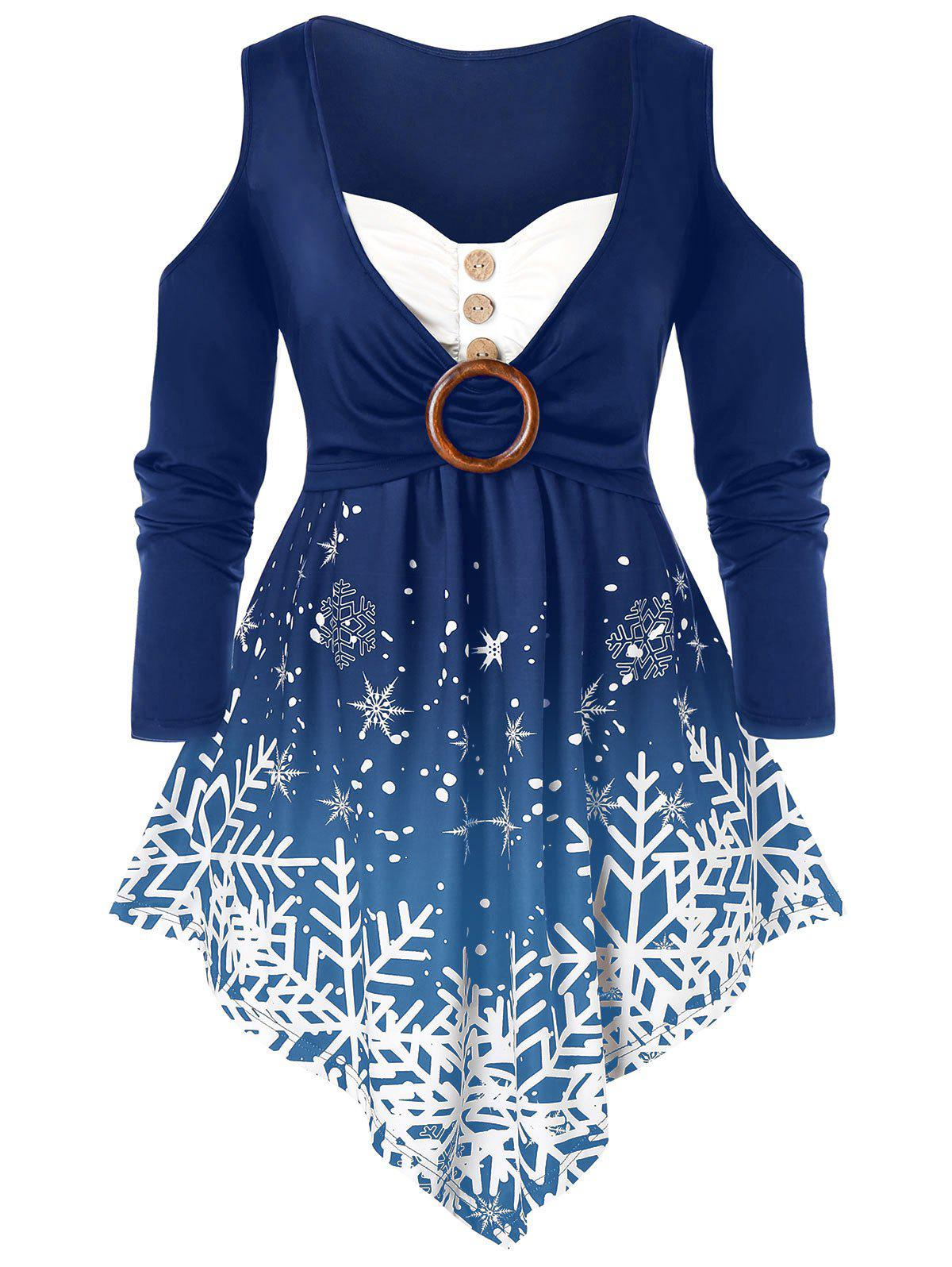 Plus Size Christmas Snowflake Open Shoulder Asymmetrical Tee - PEACOCK BLUE 4X