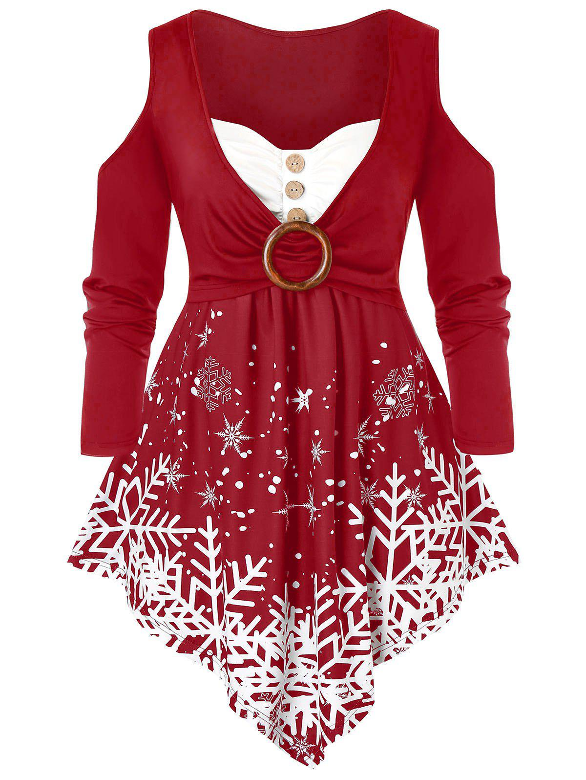 Plus Size Christmas Snowflake Open Shoulder Asymmetrical Tee - CHERRY RED L