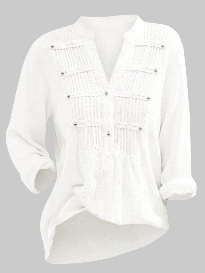 Half Buttoned Pintuck Plus Size Solid Blouse - WHITE 4X
