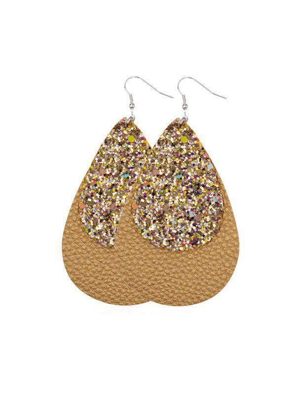 Glitter Leather Layers Water Drop Earrings - GOLD