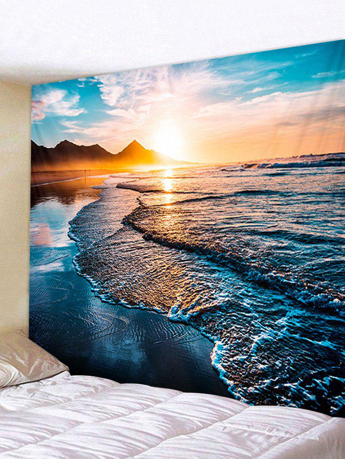 Sunrise Beach Printed Tapestry Wall Hanging Art Decoration - BLUE IVY W59 X L79 INCH