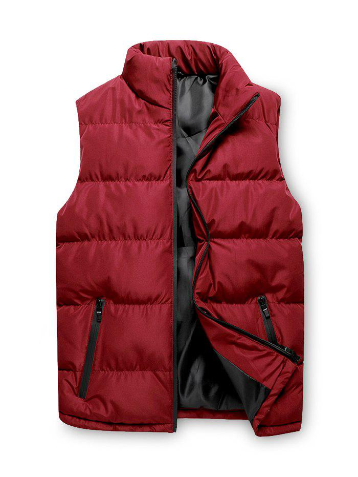 Solid Zip Up Puffer Waistcoat - RED L